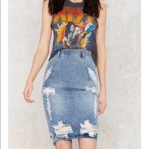 One Teaspoon Free Love Destroyed Denim Skirt S 26